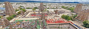 Hindu temple architecture - The Meenakshi temple complex of Madurai, mostly built between 1623 and 1655 CE, a large complex in the Dravidian architecture of South India, dominated by gopuram gatehouse towers.