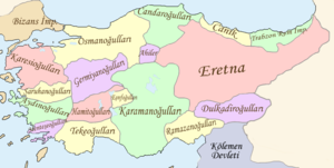 Map of Anatolia with various principalities in different colours, labelled in Turkish