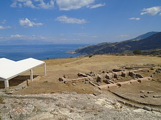 Aigeira - Partial view of the arhaeological site of Ancient Aigeira. On the right the ancient theater. Beautiful view to the Gulf of Corinth.