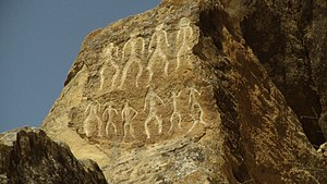 "Economy of Azerbaijan - Petroglyphs in Gobustan dating back to 10,000 BC indicating a thriving culture. It is a UNESCO World Heritage Site considered to be of ""outstanding universal value"""