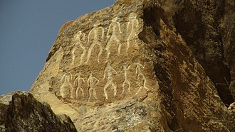 Gobustan National Park - Petroglyphs in Gobustan, Azerbaijan, dating back to 10,000 BC indicating a thriving culture.