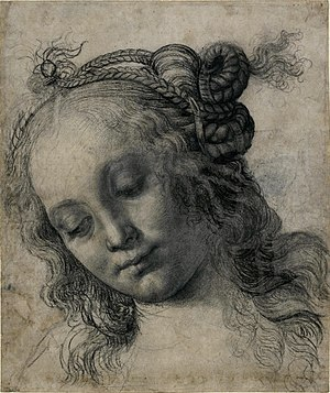 Portrait of a Young Woman (Botticelli, Frankfurt) - Image: Andrea Verrocchio Head of a Woman, British Museum