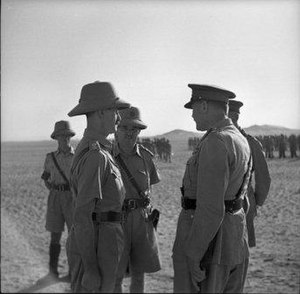 James Hargest - Hargest, centre front, with Lieutenant Colonel Leslie Andrew (left) and Major General Bernard Freyberg, Egypt, July 1941.