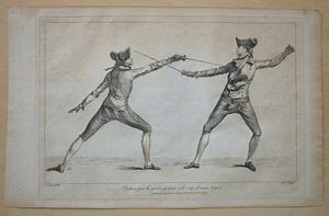 Fencing - 1763 fencing print from Domenico Angelo's instruction book. Angelo was instrumental in turning fencing into an athletic sport.
