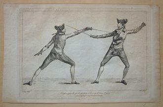 Swordsmanship - 1763 fencing print from Domenico Angelo's instruction book. Angelo was instrumental in turning fencing into an athletic sport.