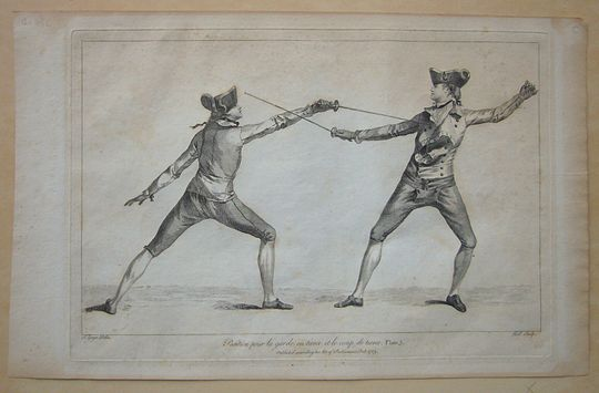 1763 fencing print from Domenico Angelo's instruction book. Angelo was instrumental in turning fencing into an athletic sport. Angelo Domenico Malevolti Fencing Print, 1763.JPG
