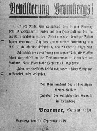 Walter Braemer - Announcement signed by Braemer informing about the public execution of 20 of Polish hostages at Old Market in Bydgoszcz on 9 September 1939