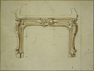 Design for a fireplace with Rococo ornamentation