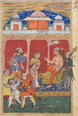 Page from Tales of a Parrot (Tuti-nama): Eighth night: The prince's ordeal continues, he is ordered away to be executed for the fifth time