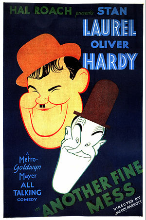 Oliver Hardy - Movie poster of Another Fine Mess (1930)