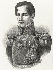Lithograph depicting the head and shoulders of a middle-aged, clean-shaven man wearing an ostentatious military uniform.
