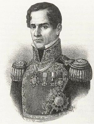 English: This is a lithograph of Mexican Presi...