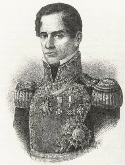 General Santa Anna on a lithograph from 1852 Antonio Lopez de Santa Anna 1852.jpg