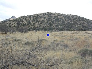 Bascom affair - Blue dot represents where U.S. Army Lt. George N. Bascom met Apache leader Cochise in Apache Pass on February 5, 1861.