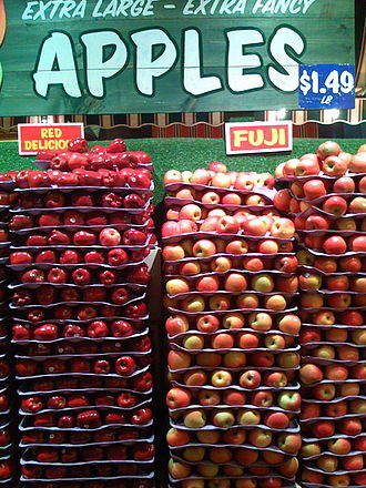 Fuji (apple) - Fuji apples on a display in a supermarket