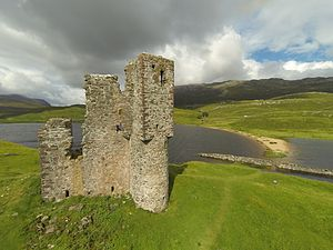 Battle of Carbisdale - Ardvreck Castle where Montrose surrendered to Neil Macleod of Assynt after the Battle of Carbisdale