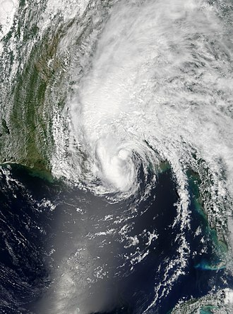 Timeline of the 2005 Atlantic hurricane season - Tropical Storm Arlene making its second landfall near Pensacola, Florida