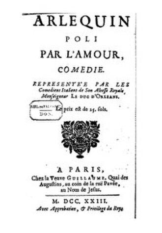 Arlequin poli par l'amour - Front page of 1723 Edition of Arlequin poli par l'amour
