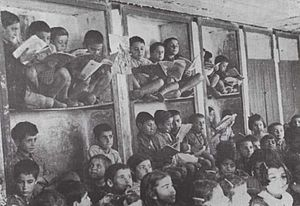 Armenians in Syria - Armenian students cramped into crowded classrooms in Aleppo after they flooded Syrian cities after the Armenian Genocide of 1915