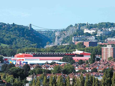 Ashton Gate Stadium, with the Clifton Suspension Bridge over the Avon Gorge in the background Ashton Gate & Bridge.jpg