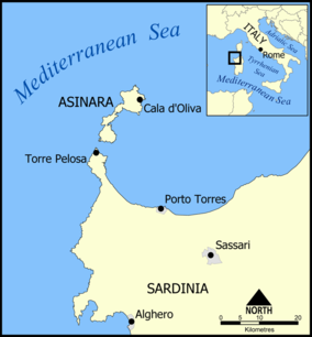 Map showing the location of Parco Nazionale dell'Asinara