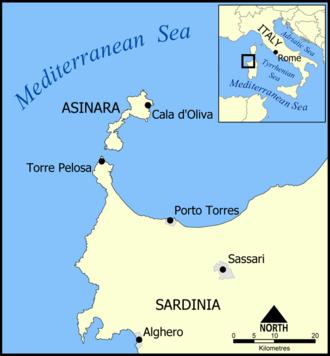 Asinara - A map showing the location of Asinara island