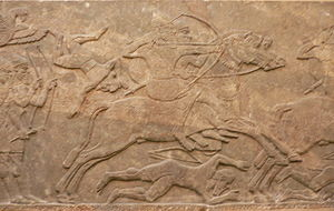 Mounted archery - Assyrian relief of a mounted archer