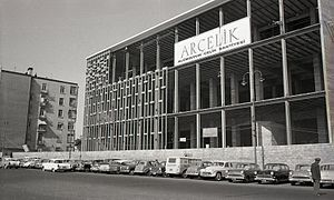 Arçelik - Istanbul Atatürk Cultural Center construction of the aluminium facade, 1960s.