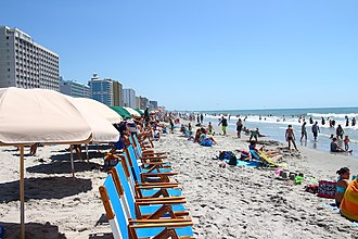 Summer - Hotels and tourists along the Atlantic Ocean shoreline in Myrtle Beach, South Carolina in summer
