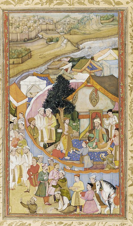 Sultan Daud Khan Karrani receives a robe of honour from Mughal general Munim Khan Attributed to Hiranand - Illustration from a Dictionary (unidentified)- Da'ud Receives a Robe of Honor from Mun'im Khan - Google Art Project.jpg