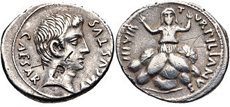 Tarpeia - Denarius (19-18 BC) depicting the head of Augustus and Tarpeia crushed by the soldiers' shields
