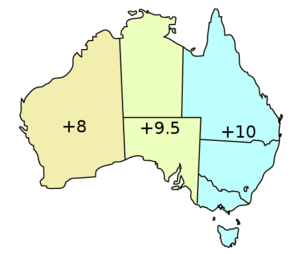 Time in Australia - Time offsets during standard time