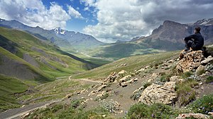 Landscape of Khinalug valley in Azerbaijan. Fr...