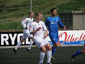 B36 Tórshavn - B36 players (in white) in a match against FC Suðuroy in Vodafonedeildin, 2010. Number 23 is Hjalgrím Elttør, number 11 is Christian Mouritsen.