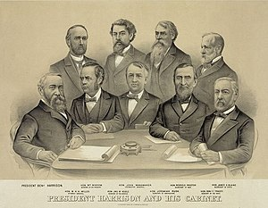 Presidency of Benjamin Harrison - Harrison's cabinet in 1889. Front (left to right): Harrison, William Windom, John Wanamaker, Redfield Proctor, James G. Blaine; Back (left to right): William H. H. Miller, John W. Noble, Jeremiah M. Rusk, Benjamin F. Tracy.