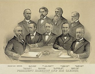 Presidency of Benjamin Harrison - Harrison's cabinet in 1889. Front (left to right): Harrison, William Windom, John Wanamaker, Redfield Proctor, James G. Blaine; Back (left to right): William H. H. Miller, John W. Noble, Jeremiah M. Rusk, Benjamin F. Tracy.