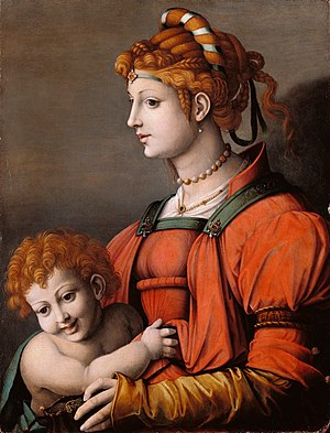 Francesco Bacchiacca - Portrait of a Woman and Child (Allegory of Liberality)