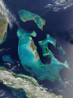 Outline of the Bahamas - An enlargeable satellite image of the Bahama Islands