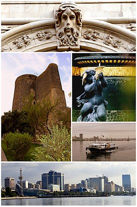Baku montage. Clicking on an image in the picture causes the browser to load the appropriate article.