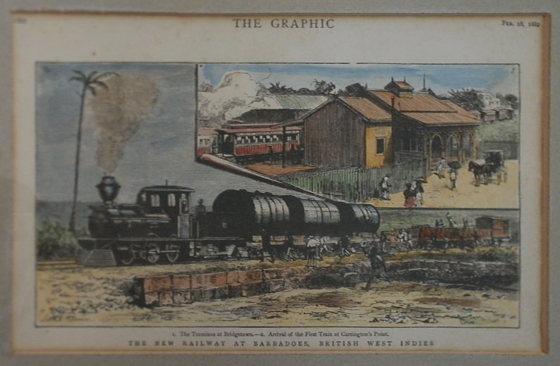Barbados Railway - The Graphic - 8th February 1882 - displayed in Sunbury Plantation House, Barbados