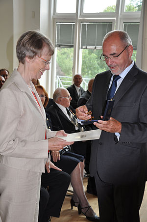 "Barbara Aland - German theologian Prof. Dr. Barbara Aland receives ""Knight's Cross"" of the Order of Merit of the Federal Republic of Germany, July 2011"