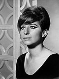 Black-an-white photo o Barbra Streisand in 1965.
