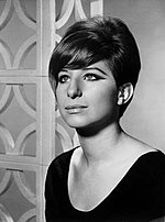 Black-and-white photo of Barbra Streisand in 1965.