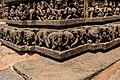 Base of temple with battle stories and armoured elephant carvings - Lakshmi Narasimha Temple, Nuggehalli 12.jpg