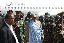 Al-Bash?r al suo arrivo nella capitale meridionale Giuba, 2011