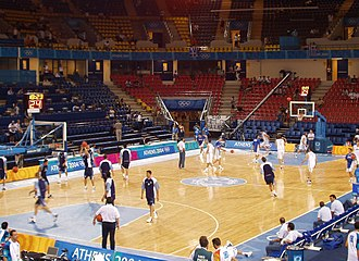 Basketball at the 2004 Summer Olympics - Italy and Argentina warming up before the game.