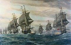 Zwei Linien von Kriegsschiffen auf See segeln mit vollen Segeln gegen den Wind vom Betrachter weg und schießen Breitseiten aufeinander;  im mittleren Vordergrund treten sechs der französischen Flotte in den linken Hintergrund;  im rechten Vordergrund tritt er in die Mitte vier der britischen Flotte zurück.