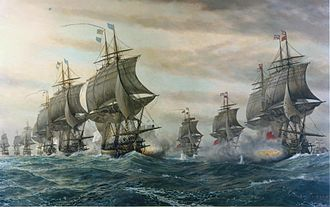 France in the American Revolutionary War - French (left) and British ships (right) at the battle of the Chesapeake off Yorktown in 1781; the outnumbered British fleet departed, leaving the British army no choice but to surrender.