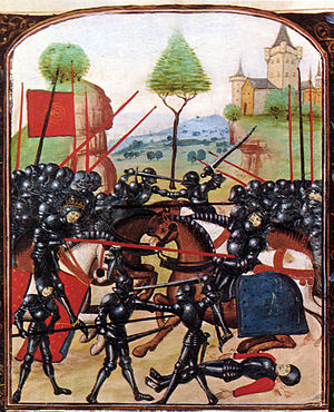 Richard Neville, 16th Earl of Warwick - The Battle of Barnet, where Warwick was killed. Edward IV can be seen on the left, wearing a crown, Warwick on the right being pierced by a lance. In reality Edward did not kill Warwick.