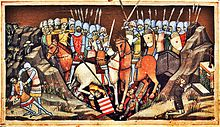 Illuminated manuscript with two mounted armies, swords and spears raised in the battle of Ménfő